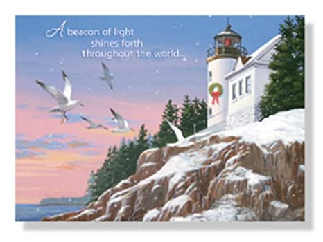 Designer Greetings Red Farm Boxed Christmas Cards A beacon of light shines forth throughout the world lighthouse seagulls cliffs sea