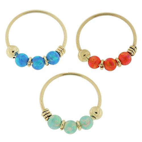 PiercingPoint 3 Pieces Box Set of 9 Karat Solid Yellow Gold 22 Gauge Triple Opal Stones Hoop Nose ()