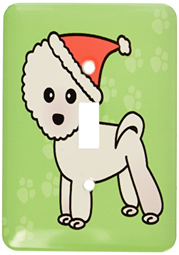 3dRose Lsp_13818_1 Cute Bichon Frise Green Paw Background with Santa Hat Single Toggle Switch