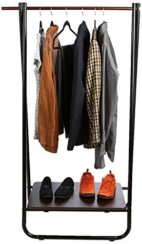 Mind Reader Clothing Garment Rack Foldable Single Rail, with Medium Density Fiberboard Shelf, Black