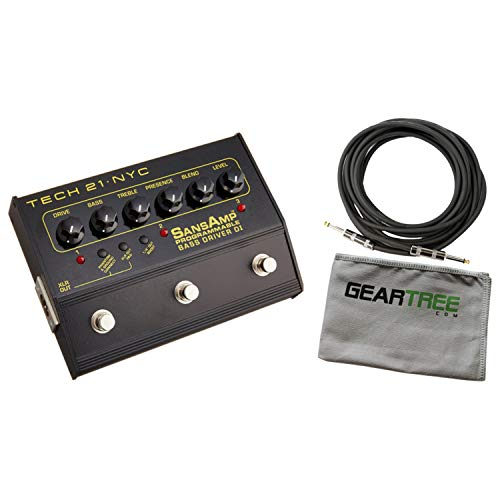 Tech 21 SansAmp Programmable Bass Driver DI Pedal Bundle w/Cable and - 21 Power Engine Tech