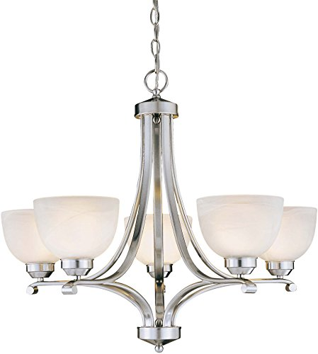 Minka Lavery Chandelier Pendant Lighting 1425-84, Paradox Glass 1 Tier Dining Room, 5 Light, 500 Watts, Nickel