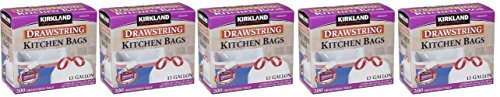 Kirkland Signature Drawstring ngsmBe Kitchen Trash Bags - 13 Gallon, 5Pack (200 Count)