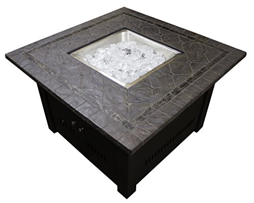 Hiland AZ Patio Heaters Fire Pit, Propane in Decorative Bronze with Lid