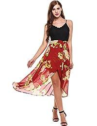 Meaneor Women's Sexy Front Slit Floral Dress Spaghetti Strap V Neck Beach Dress