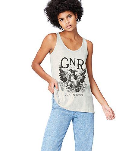 FIND Canotta con Stampa Guns N' Roses Donna Grigio (Grey)