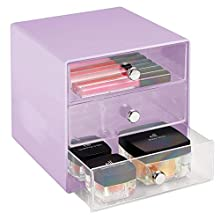 mDesign Plastic Makeup Organizer Storage Station Cube, 3 Drawers for Bathroom Vanity, Cabinet, Countertops - Holds Lip Gloss, Eyeshadow Palettes, Brushes, Blush, Mascara - Wisteria Purple/Clear