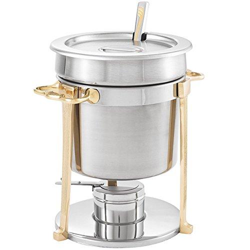 Vollrath 46075 7.25 Qt. Classic Brass Trim Soup Chafer
