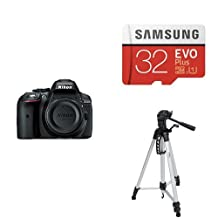 Nikon D5300 Digital SLR Camera with Built-in Wi-Fi and GPS (Body Only) and Samsung EVO Plus Class 10 Micro SDHC with Adapter, 32GB and AmazonBasics 60-Inch Lightweight Tripod with Bag Bundle