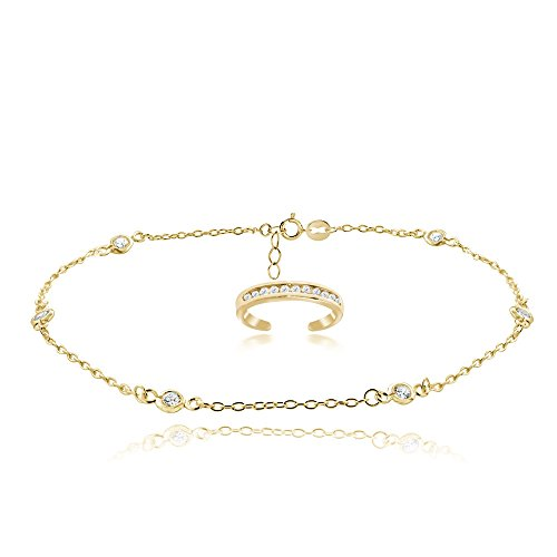 Yellow Gold Flashed Sterling Silver Cubic Zirconia Anklet and Toe Ring Set