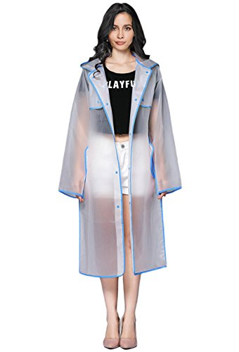 RAINATTY Transparent Rain Coat Women Long Raincoat Plus Size Hooded Impermeable Trench Coat Motorcycle Rain Cover Camping Hiking Poncho Blue M Silver Transparent Coat