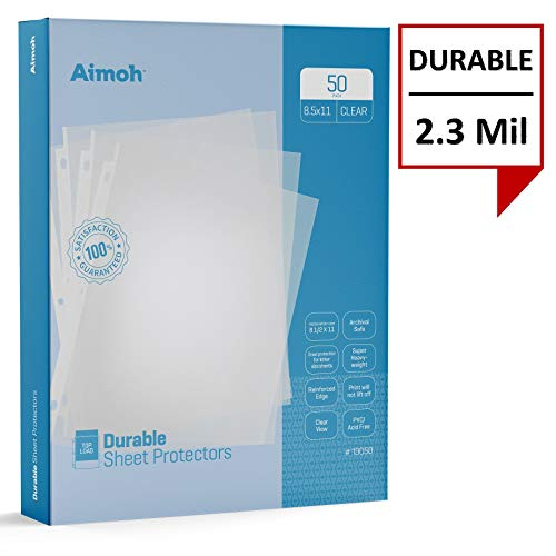 Reinforced Sheet Protector - Aimoh Durable Clear Presentation Sheet Protectors 50-Count - Page Size - Fits 8.5 x 11 Paper - Reinforced Edge - 3 Hole Design - 9.25 x 11.25 - Top Load (13050)