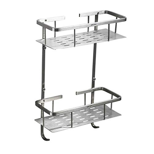 Shelf Bathroom Shower Wall Mount Two-Tier Rack Shelf Rustproof 304 Stainless Steel Shower Organizer Lavatory Shelves Rectangle (Lan Rack Shelf Kit)