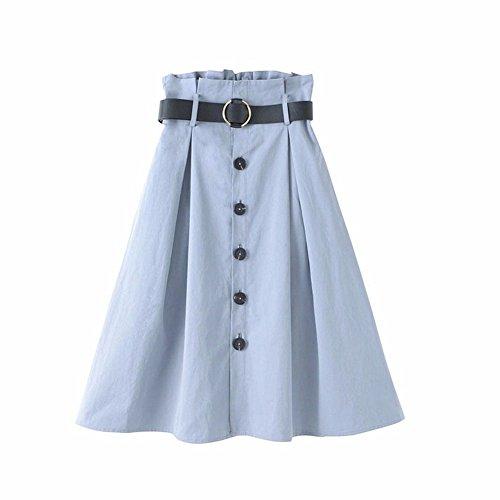 YUCH Demi Jupe Femme Bouton De Ceinture Une Jupe D't Blue