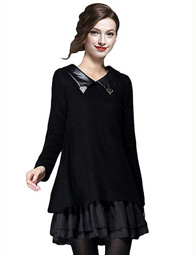 PU&PU Robe Aux femmes Ample Mignon,Mosaïque Col Arrondi Mini Polyester , black-10 , black-10