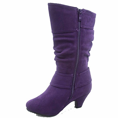 Round Low Zipper Girl's Toe Lucky Slouch Purple Auto Shoes Heel Fashion Boots Top 8k Buckle Youth wq8qRY7