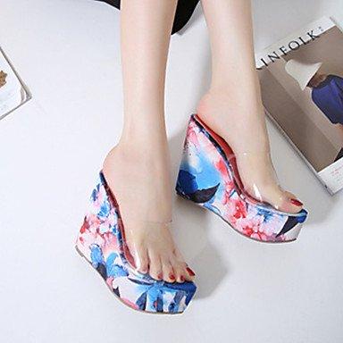 Innovador LvYuan Naranja Confort Azul del Vestido Talón y Blue Sandalias Tacón PVC club Mujer Cuña Fiesta Noche y Trabajo Zapatos Oficina Descubierto fpqwpIrR