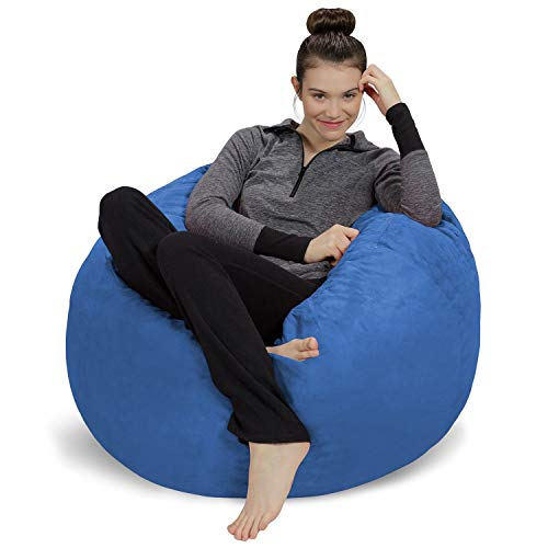 Sofa Sack - Plush, Ultra Soft Bean Bag Chair - Memory Foam Bean Bag Chair with Microsuede Cover - Stuffed Foam Filled Furniture and Accessories for Dorm Room - Royal Blue 3' (Renewed)