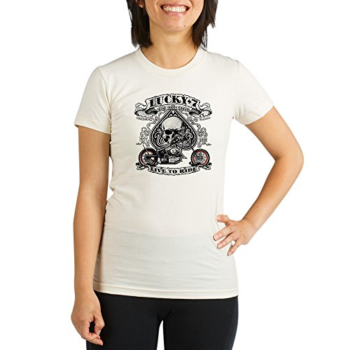 - Royal Lion Organic Womens Fitted T-Shirt Lucky 7 Bikes Live To Ride Skull - Small