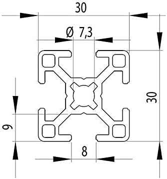 Profilo in alluminio da 30/x 30 mm,/tipo B scanalatura da 8 mm taglio da 50 a 2000/mm