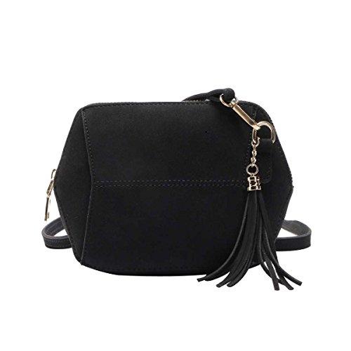 Mode Für Frauen Einfach Bereift Süßigkeit Farbe Quaste Tasche Umhängetasche,Black-OneSize