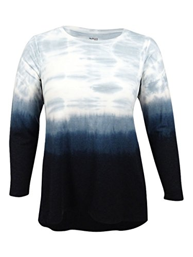 Style & Co. Womens Plus Ombre Long Sleeves Casual Top Black 1X by Style & Co.