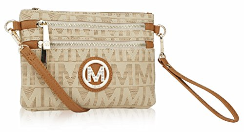 Beige Signature Handbag - Wristlet Wallet Purse | 2-in-1 Crossbody Bags for Women | Pocketbook Clutch Stachel | MKF Collection Roonie Milan Signature Design (Light Tan)