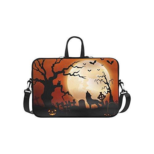 Halloween Night Wolf Pumpkins Owl Moon Pattern Briefcase Laptop Bag Messenger Shoulder Work Bag Crossbody Handbag for Business Travelling]()