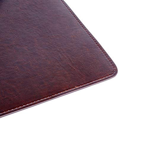 Leather Desk Mat Protector Pad | Premium PU Leather Desk Pad Blotter | Use as Stylish Computer Mouse Pad Accessory or Comfortable Writing Surface for Office/Home, 24″ x 12″ (Brown)