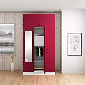 GODREJ INTERIO Slimline 3 Door Steel Almirah with Locker, Drawer, Star Mirror, with Over Head Unit in Ceremine Red…