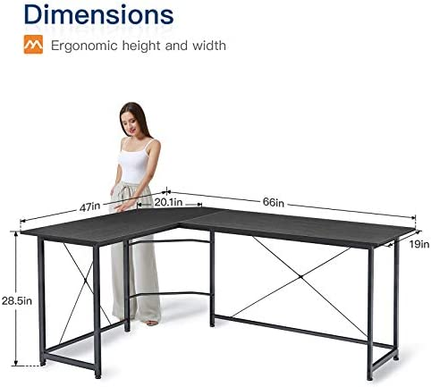 """Coleshome L Shaped Gaming Desk Corner Computer Desk 66"""" Sturdy Home Office Computer Table Writing Desk Larger Gaming Desk Workstation, Black"""