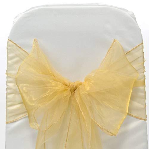 VDS - 25 PCS Elegant Organza Chair Bow Sashes Bows Ribbon Tie Back sash for Wedding Party Banquet Decor - Gold