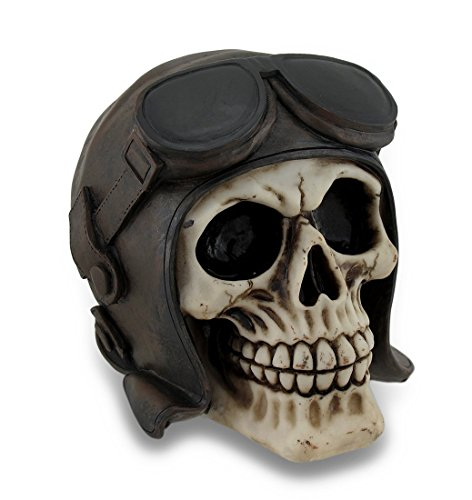 Resin Statues Vintage Look Aviator Pilot Human Skull Statue Figure 6 X 5 X 4.5 Inches - Aviator Look