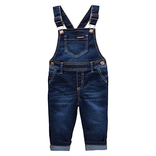 OFFCORSS Toddler Boys Kids Infant Bib Matching Brother Twin Jean Denim Cotton Cute Long Overalls Dungarees with Hooks Overol para Niños Dark Blue 12 M -
