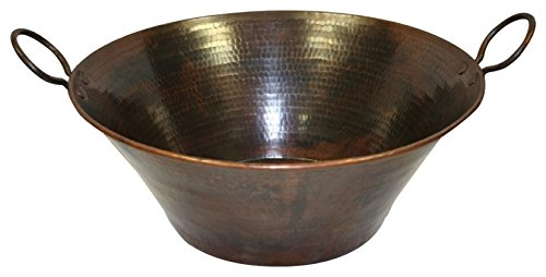 SimplyCopper 16 Round Hand Hammered Copper Cazo Vessel Sink with Handles