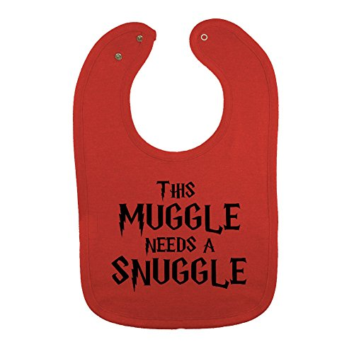 Vintage Baby Bib (We Match! Unisex-Baby - This Muggle Needs A Snuggle Thick PREMIUM 2-Ply Cotton Baby Bib With Snaps (Vintage Red))