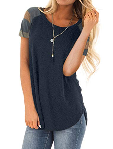 Halife Women's Short Sleeve Baseball Tee Shirt Crew Neck Colorblock Striped Tops Casual Blouse Navy Blue XL Color Block Raglan Tee