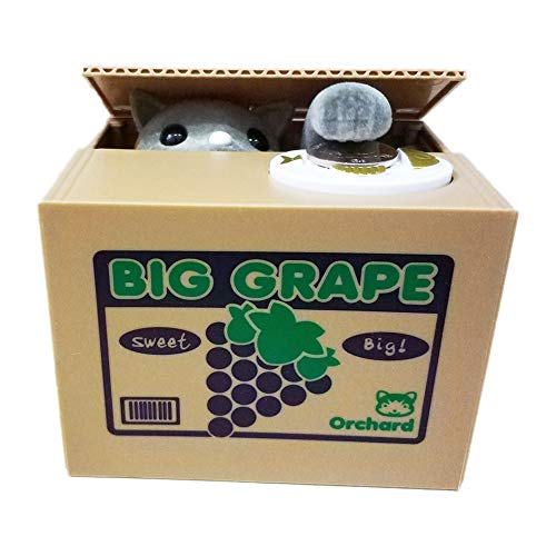 PERFECTTOY Automated Big Grape Gray Cat in Box Plastic Children Piggy Bank Stealing Money for Boys -
