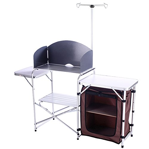 campland outdoor portable cook station folding cooking table aluminum camping kitchen with. Black Bedroom Furniture Sets. Home Design Ideas