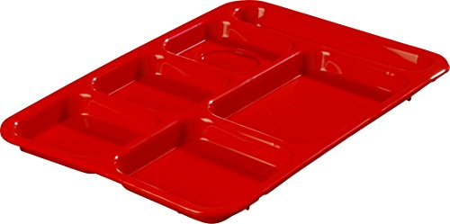 Carlisle P614R05 Polypropylene Right-Hand 6-Compartment Divided Tray, 14'' X 10'', Red (Pack of 24) by Carlisle