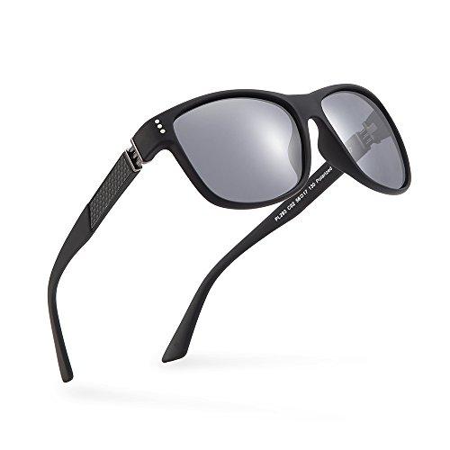 2020Ventiventi Classic Carbon Fiber Polarized Sunglasses for Men Square Lens Full Frame with Case UV400 for Driving PL293(C02 - Fiber Carbon Glasses Frames