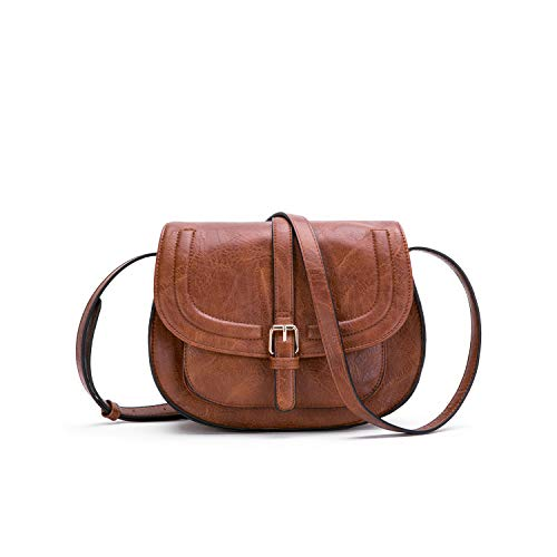 Small Purse Vintage Satchel for Women PU Leather Cover Hasp Crossbody Bag and Brown Saddle Shoulder Bag (Leather Side Snap)