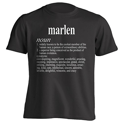 Vintage Style Marlen Funny First Name Definition Adult T-Shirt 2X Black