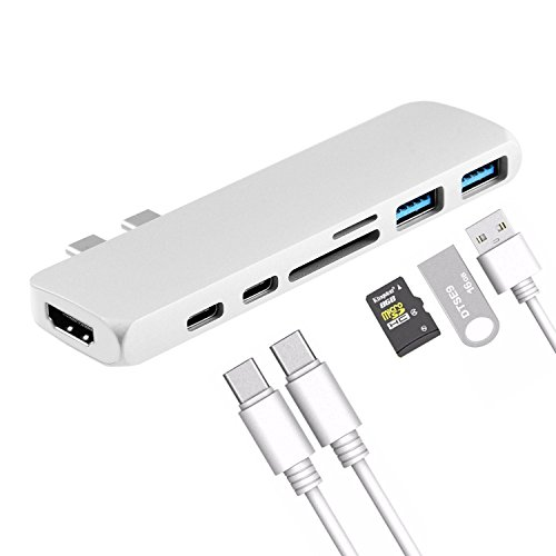 """Price comparison product image KOBWA 7-in-1 USB C Hub, Thunderbolt 3 + HDMI + USB-C + USB 3.1 + SD Card Reader, Multiple Adapter for 13""""/15"""" MacBook Pro 2016/2017, Portable Handy Safe"""