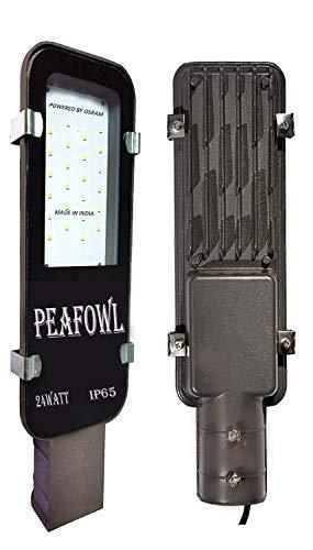 Peafowl Wholesale Outdoor Slim Model Waterproof LED Street Light with Wall Mount Clamp (White, 24 Watt)