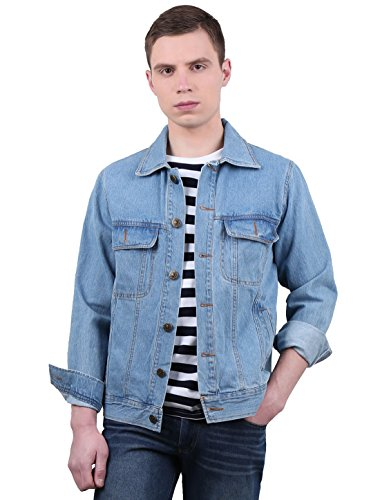 Allegra K Men Turn Down Collar Welt Pockets Casual Jean Jacket Blue S (Pocket Welt Denim)