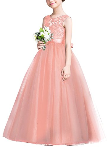 EsTong Big Girl Lace Bridesmaid Dress Dance Gown A Line Maxi Dresses Pink Coral 7-8 Years