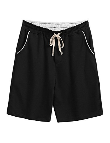 Summer Pajamas Shorts (Ekouaer Mens Cotton Jersey Knit Pajama Short Pants Lounge Sleep Shorts (Black, XXL))