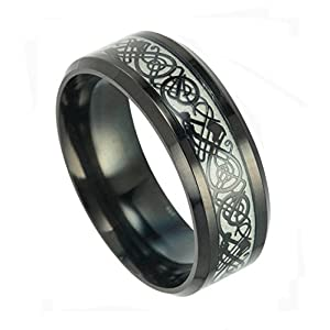 Tanyoyo Luminou Black Celtic Dragon Rings For Men Women stainless steel Luminou Glow Wedding Band Jewelry