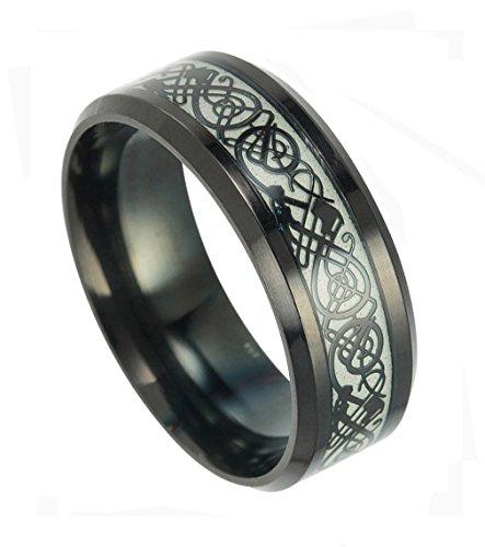 Tanyoyo Luminou Black Celtic Dragon Rings for Men